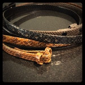 "Accessories - Custom Made 32"" Three Men's Skin Belts. No Buckle."